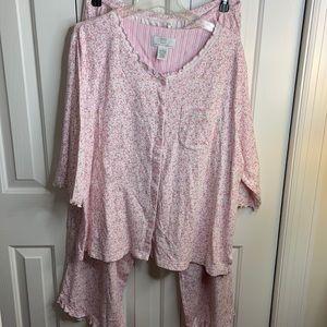 Karen Neuburger size 2X pink floral pajama set excellent condition